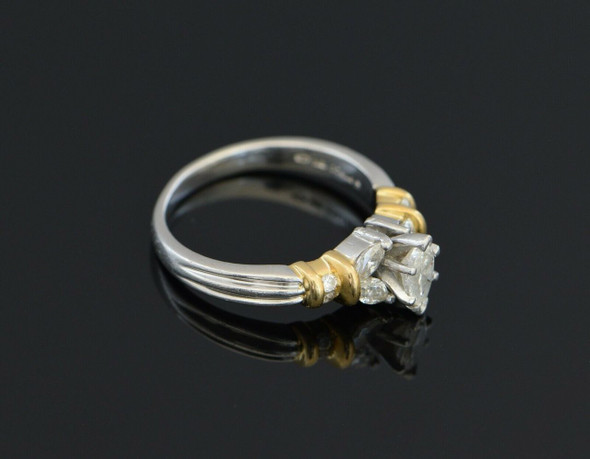 Platinum and 18k Yellow Gold Marquise Diamond Engagement Ring , Size 7
