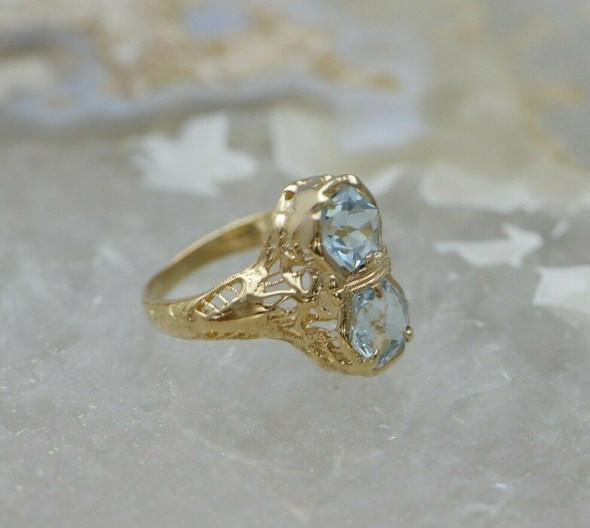 Vintage 14K YG Aquamarine filigree Ring Circa 1930 Size 4.5