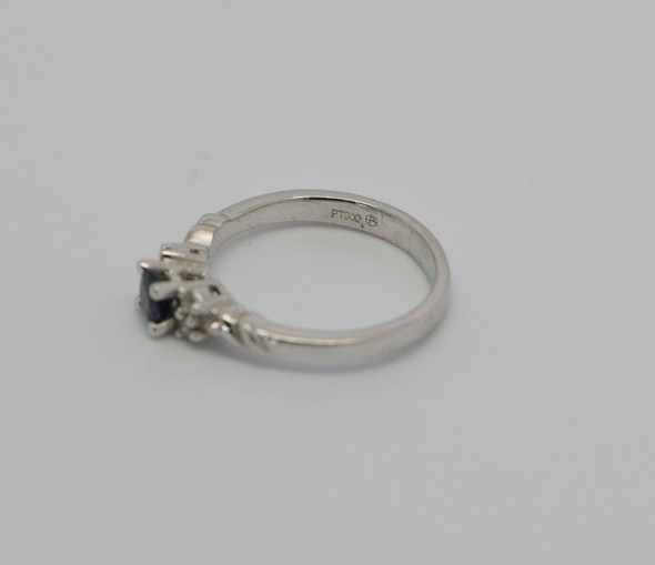 Platinum Sapphire and Diamond Ring 1/2 ct. tw., Size 6.5
