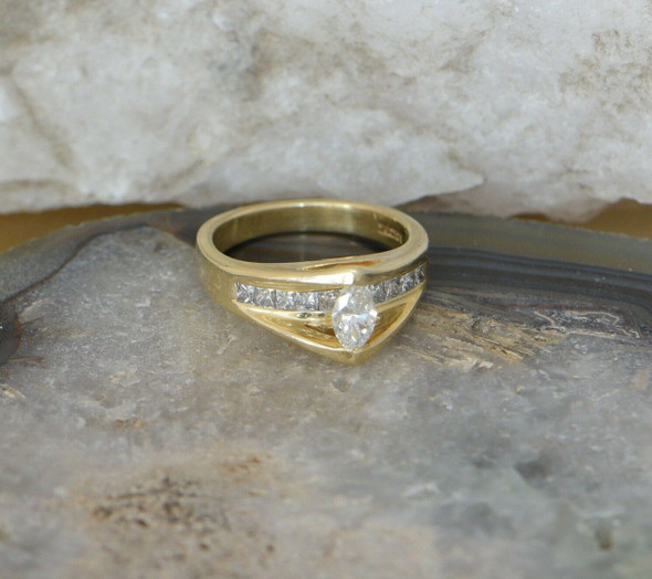 14K Yellow Gold Diamond Engagement Ring with Marquise Center Circa 1980, Size 7+