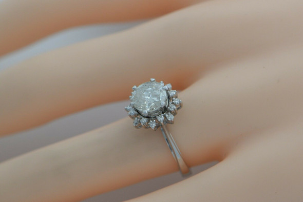 14K WG 2 ct TEXAS TWINKLER Diamond Ring Set Around Halo Size 5-6 Circa 1960