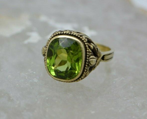 Superb Antique 14K YG Peridot Ring Victorian Nouveau Style Size 8.75 Circa 1950
