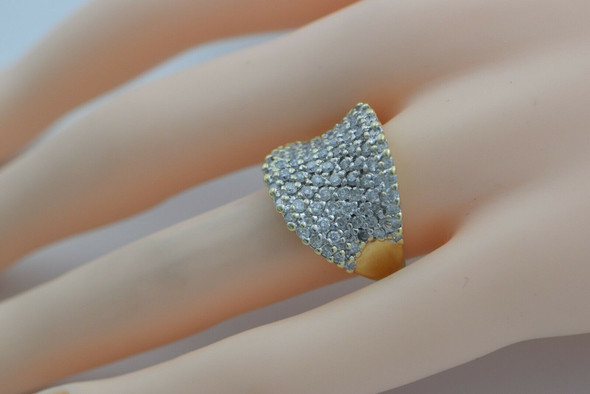 14K YG 3ct tw. Pave Diamond Ring V Shaped Profile Size 7 Circa 1980