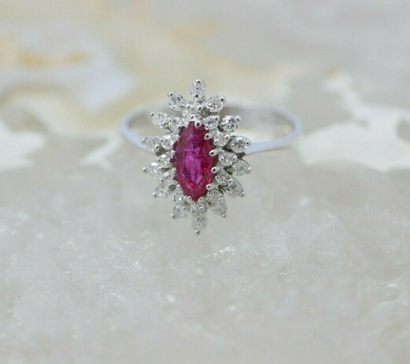14K White Gold Ruby Marquis Double Diamond Halo Ring Size 6.25 Circa 1980