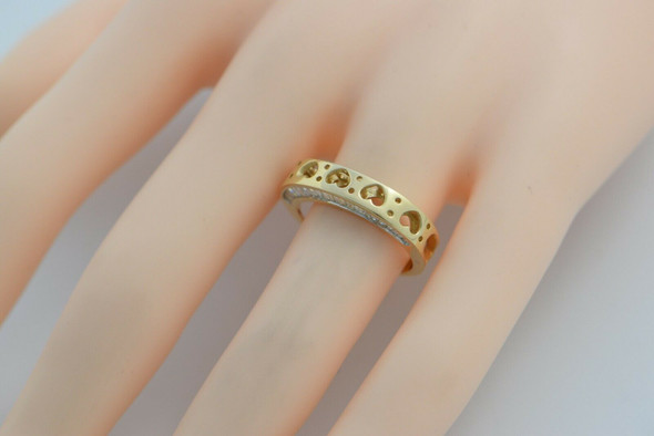 """18K YG Designer """"SD"""" Diamond Baguette Side set Ring Size 5-6 Circa 1990"""