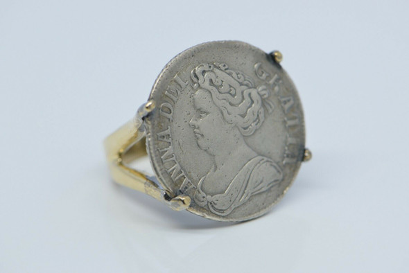 "14K YG ""1711"" Dated Silver Queen Anne Shilling Ring Size 5 Circa 1970"