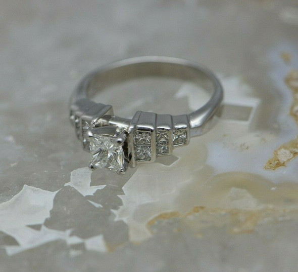 Platinum Shane & Co Princess Diamond Ring Size 7.25 Circa 1980