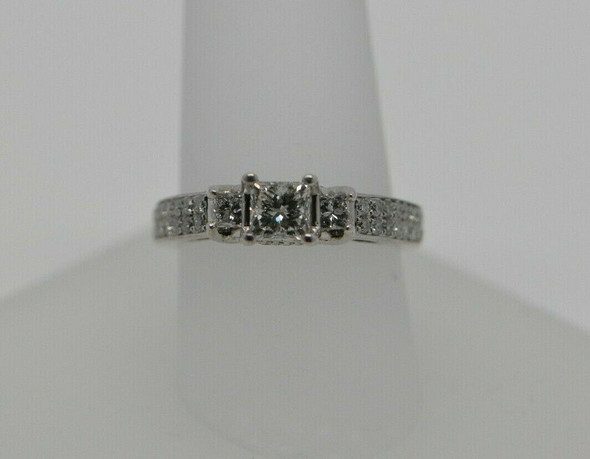 14K WG Princess Cut Diamond Engagement Ring Size 7 Circa 1990