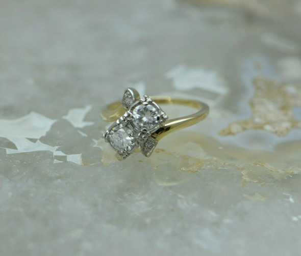 14K YG Bypass Design Diamond Ring Approximately 1ct Total Weight Size 5.5 1950's