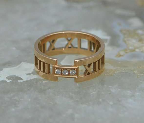 18K Rose Gold Tiffany Atlas Diamond Set Roman Numeral Ring Size 11.5