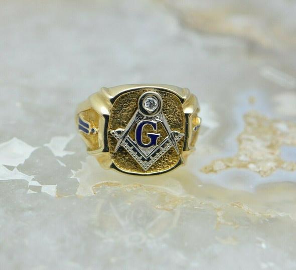 Vintage 14K Yellow Gold Masonic Ring Size 8.5 Circa 1950