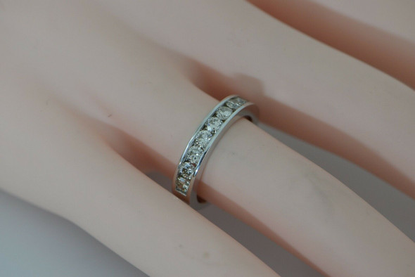 14K WG Diamond Band 9 Round Diamonds Channel Set Size 6.75 Circa 1990