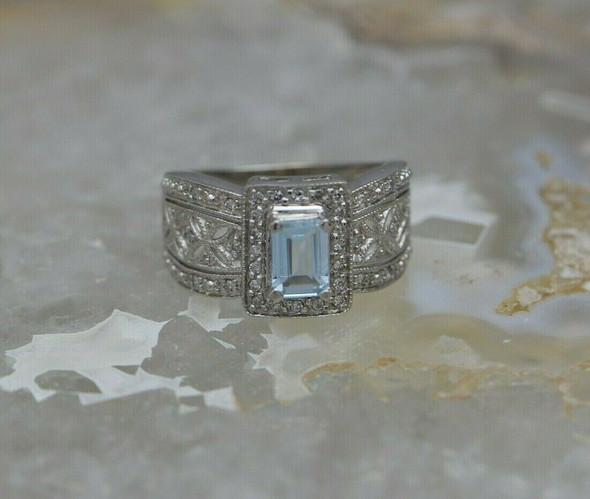 14K White Gold Aquamarine and Diamond Ring Size 7 Circa 1990