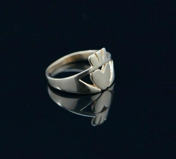 14K YG Claddagh Ring, Hand Cut, Circa 1960, Size 10.25