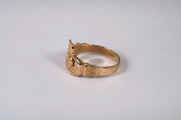 14K Yellow Gold Claddagh Ring, Size 12