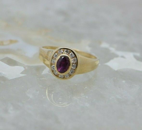 14K YG 1ct tw. Ruby and Diamond Halo Ring Size 6 Circa 1970