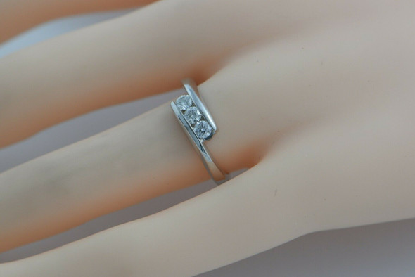 14K WG Diamond 3 Stone Ring 1/2ct tw Size 7 Circa 1990