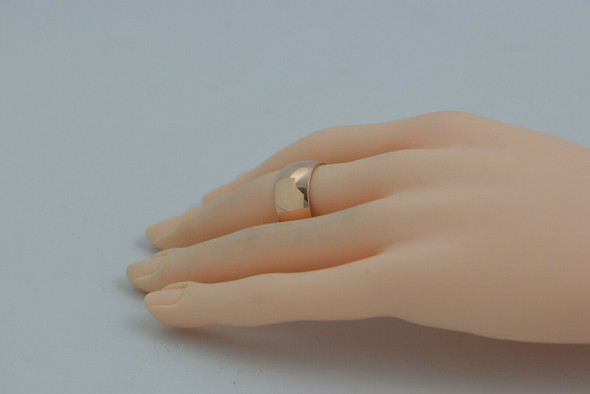 14K Pink Gold Russian Wide Domed Band Soviet Hallmark Size 9.75 Circa 1980