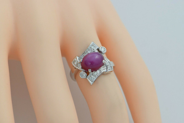 14K WG Pink Linde Star Sapphire Ring with Diamond Accents Size 4.5 Circa 1960
