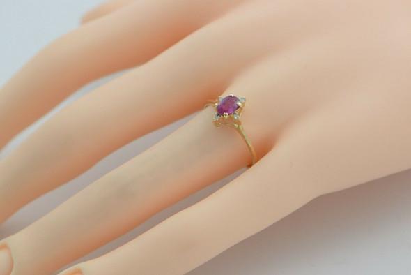 Vintage 14K YG Ruby and Diamond Ring Size 7.75 Circa 1960