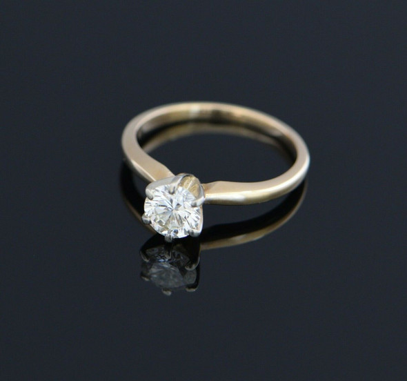 14K Yellow Gold Diamond Solitaire Ring Circa 1960, Size 5