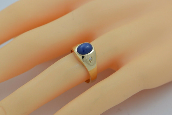 14K YG Linde Blue Star Sapphire Ring with Diamond Accents Size 10 Circa 1960
