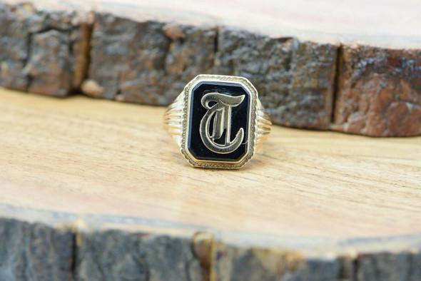 "Vintage 10K Yellow Gold ""T"" Monogram Black Onyx Ring Size 8 Circa 1950"
