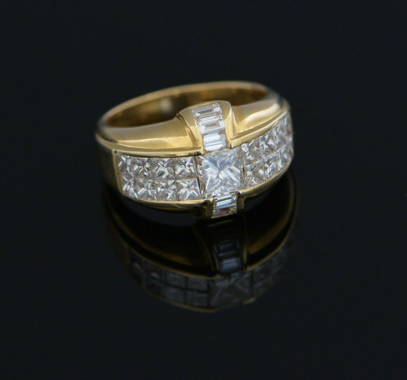 18K Yellow Gold Princess and Baguette Diamond Ring Circa 1990, Size 6