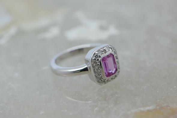 14K White Gold Pink Tourmaline and Diamond Halo Ring Size 5.25 Circa 1990
