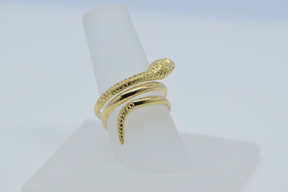 14K Yellow Gold Snake Ring Adjustable Made in Greece Size 7.5