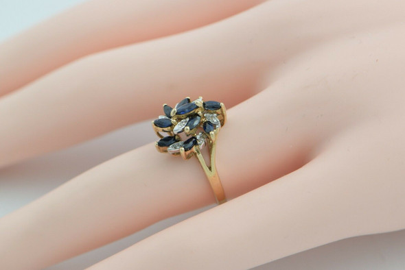 Vintage 10K Yellow Gold Sapphire and Diamond Cocktail Ring Size 6 Circa 1960