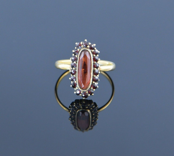 8K Yellow Gold Garnet Oval with Halo Ring Circa 1920, Size 7