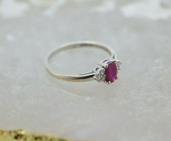 14K White Gold Ruby and Diamond Ring Size 6.25 Circa 1970