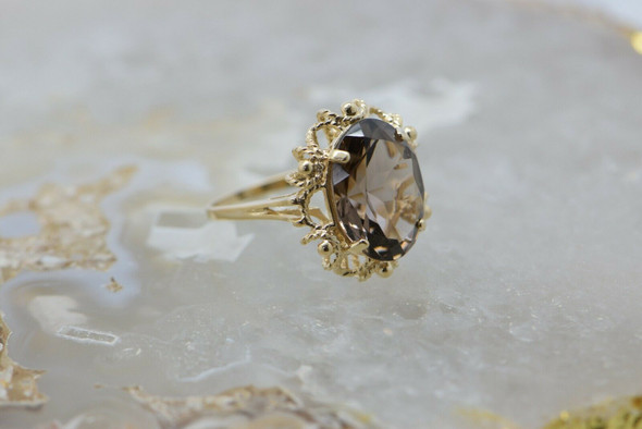Vintage 10K Yellow Gold Smoky Quartz Ring Size 8.25 Circa 1960