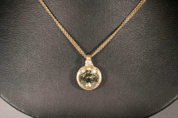"18K Yellow Gold Citrine and Diamond Pendant on 2 Strand 16"" Chain"
