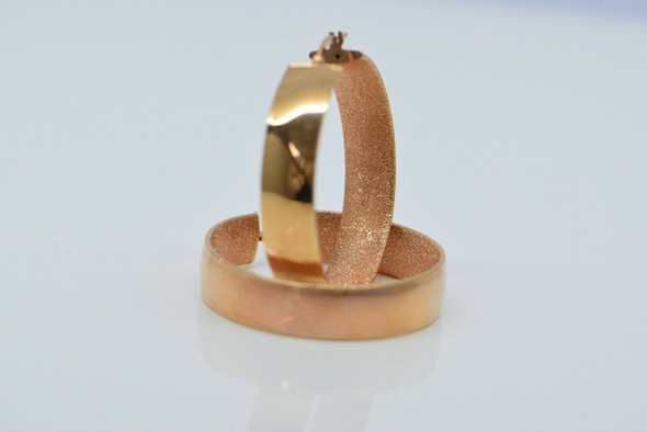 """14K Rose Gold Wide 3/8"""" Hoop Earrings with Lever Post"""