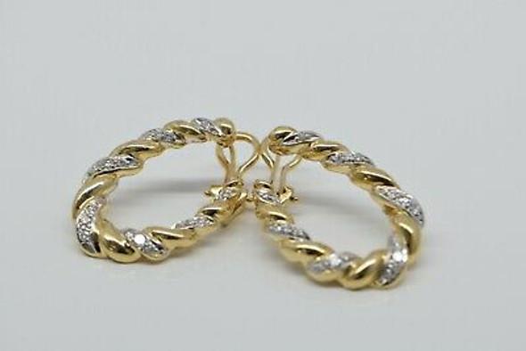 14K White Yellow Gold Braided Wreath Earrings with Diamonds Circa 1960