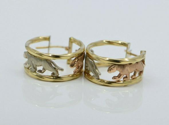 14K Tri-Color Gold Italian Animal Hoop Earrings with hinged locking Posts