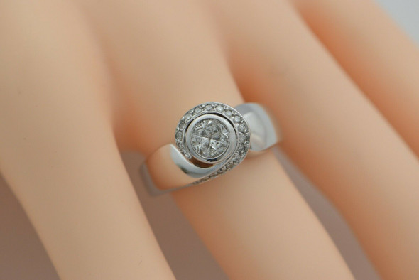 14K WG High Quality 1ct+ Diamond Crescent and Moon Designed Ring Size 8.5