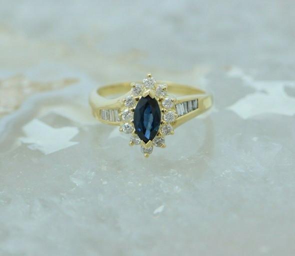 14K YG 2+ ct tw. Sapphire and Diamond Navette Ring Size 8.25 Circa 1980