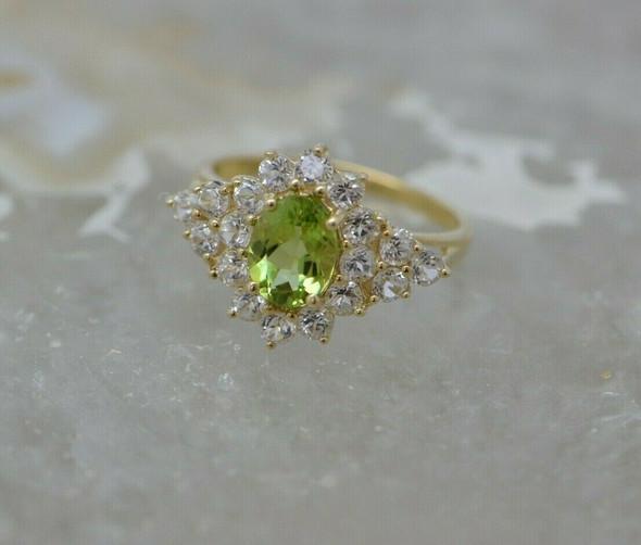 10K Yellow Gold Peridot and White Sapphire Ring Size 7 Circa 1990