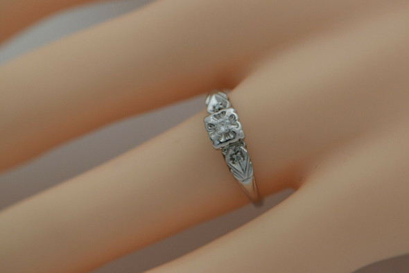 14K White Gold Diamond Promise Ring Deco Style Size 8 Circa 1950