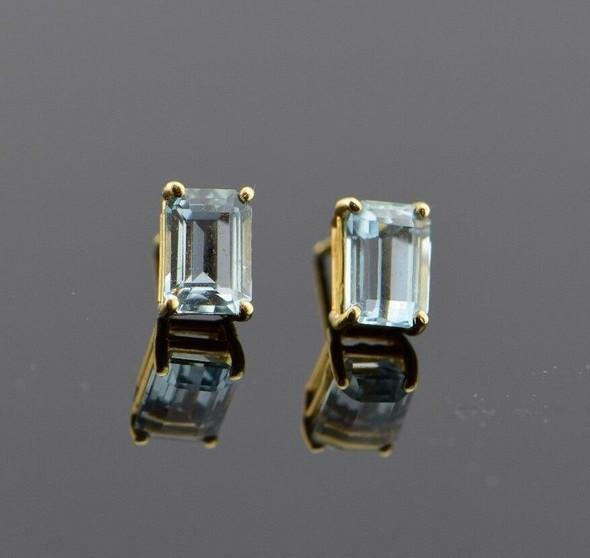 14K Yellow Gold Emerald Cut Aquamarine Stud Earrings app. 2 ct. tw.