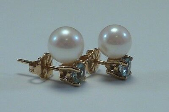 14K Yellow Gold Aquamarine and Pearl Stud Earrings