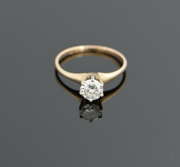 14K Yellow Gold Diamond Engagement Ring, Size 6