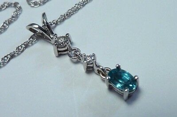 "14K White Gold Aquamarine and Diamond Pendant with 18"" Chain"