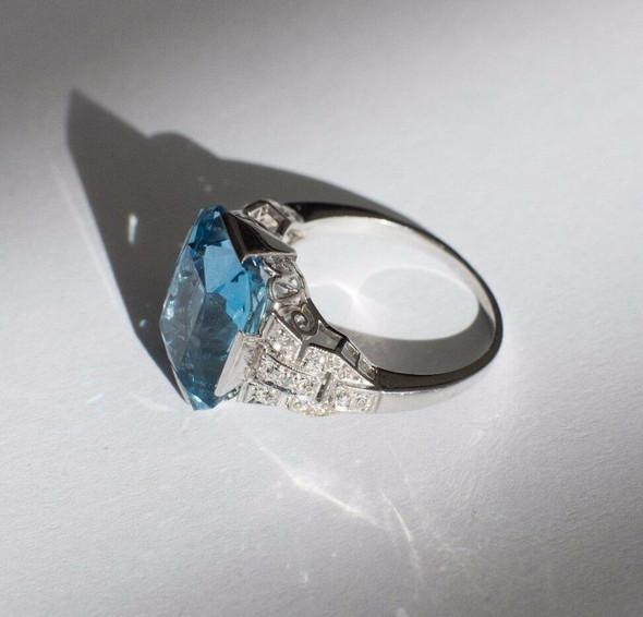 Vintage Deco Style Platinum Aquamarine and Diamond Ring app. 8ct. tw. ,Size 6.75
