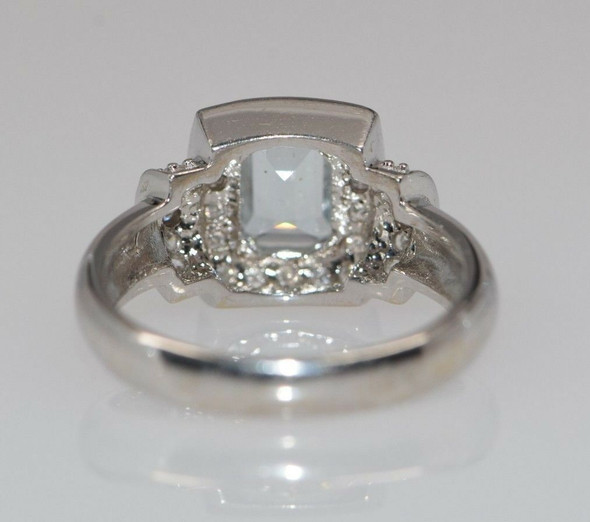 14K White Gold Aquamarine and Diamond Halo Ring Circa 1970, size 7