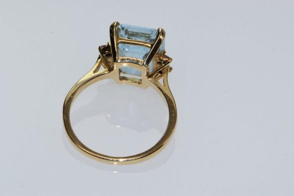 14K Yellow Gold Emerald Cut Aquamarine & Diamond Ring, size 7