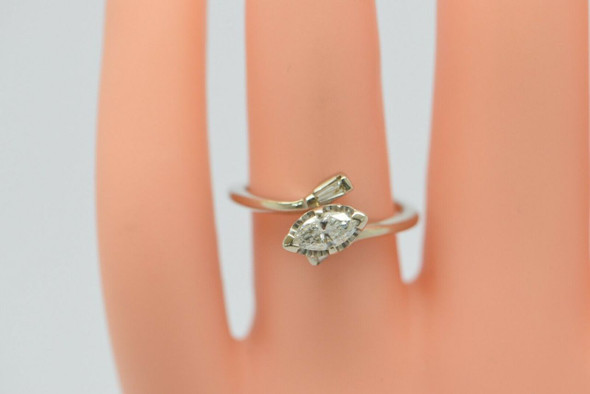 14K White Gold Marquise Diamond Engagement Ring Circa 1970, Size 6.5